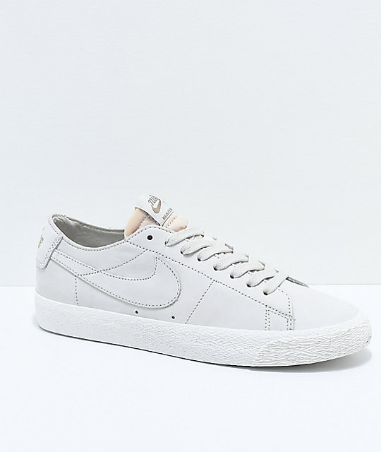 best service 00ea8 3ba9f Nike SB Blazer Zoom Low Deconstructed Light Bone   White Skate Shoes ...
