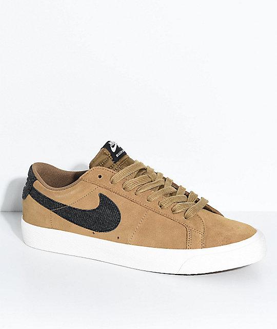 big sale 9fb1c f44fb Nike SB Blazer Zoom Low Golden Biege & White Suede Skate Shoes