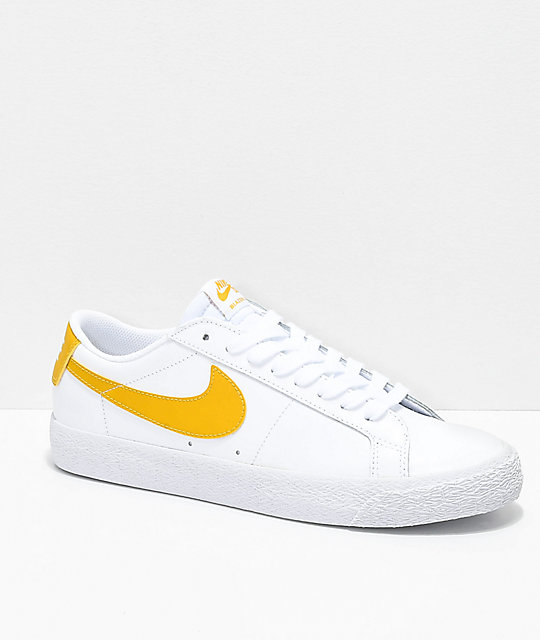 brand new 84715 75477 Nike SB Blazer Zoom Low White & Gold Leather Skate Shoes