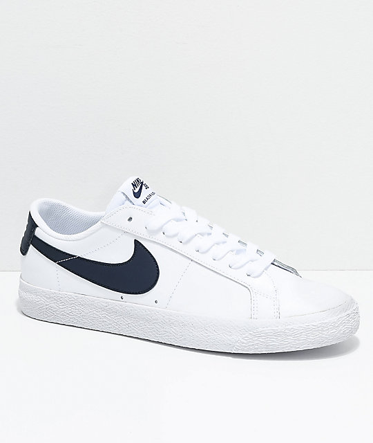 innovative design cd349 40f57 Nike SB Blazer Zoom Low White & Obsidian Leather Skate Shoes