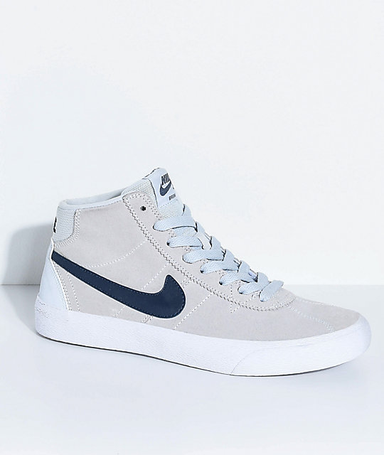 coupe classique 39bc2 79bf5 Nike SB Bruin Hi Pure Platinum, Obsidian & White Skate Shoes