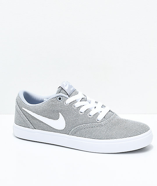 0819ec40 Nike SB Check Solarsoft Grey and White Skate Shoes | Zumiez