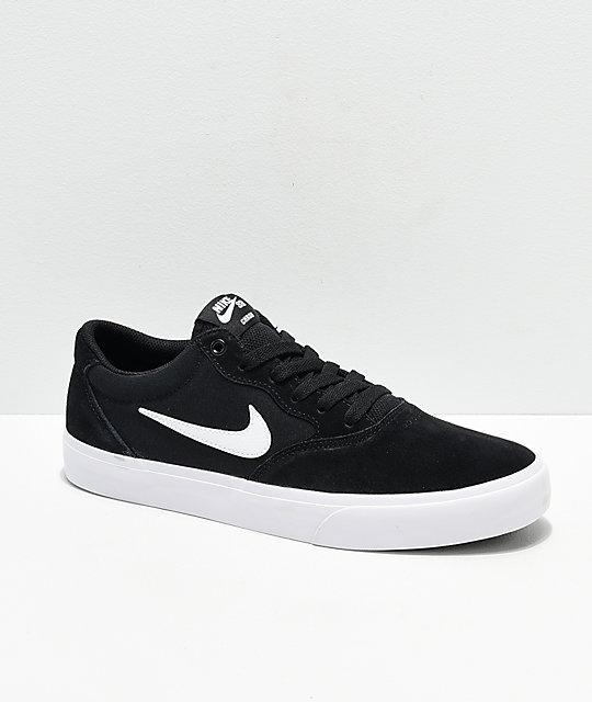 finest selection 5bd09 87621 Nike SB Chron SLR Black   White Skate Shoes   Zumiez