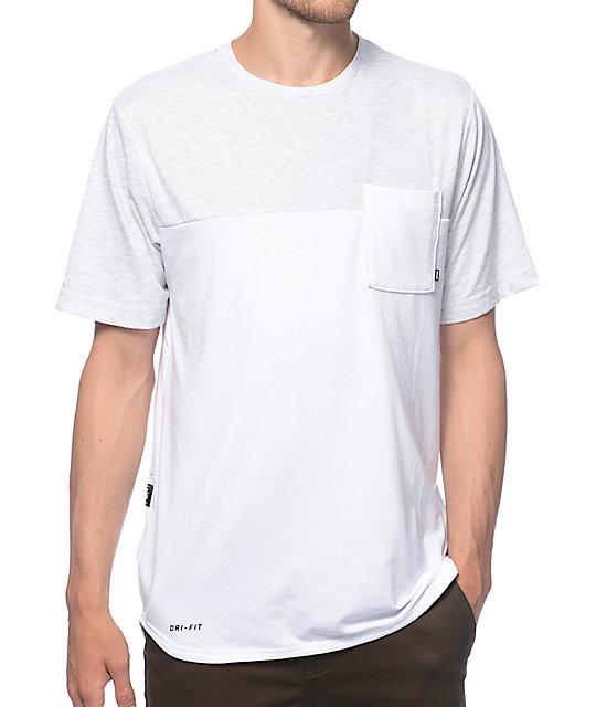 Blanco Nike Blocked Dri Sb Camiseta Fit Con Bolsillo bYg7f6yv