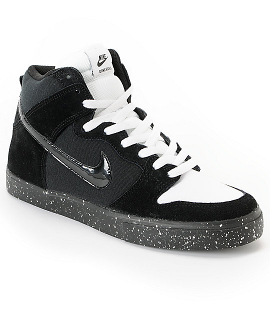 huge selection of 077f8 51e37 Nike SB Dunk High LR Black, White & Skunk Skate Shoes