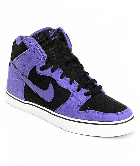 big sale 757ce 89401 Nike SB Dunk High LR Black & Varsity Purple Shoes | Zumiez
