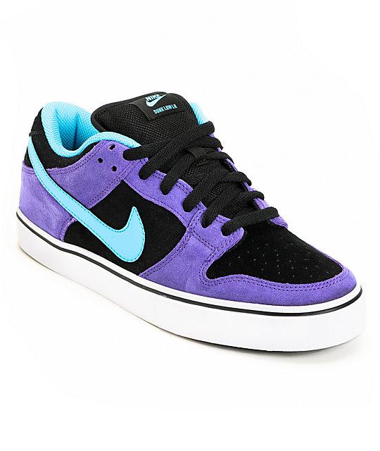 size 40 46200 75e4d Nike SB Dunk Low LR Purple & Chlorine Skate Shoes