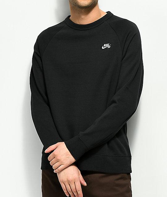 91341bf7a Nike SB Icon Black Crew Neck Sweatshirt | Zumiez