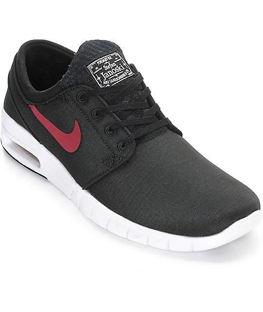 475781374f Nike SB Janoski Air Max Black, Team Red, & White Shoes | Zumiez