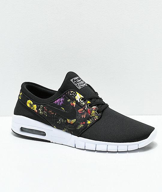 more photos 3d705 dbd9d Nike SB Janoski Air Max Black   Floral Shoes ...