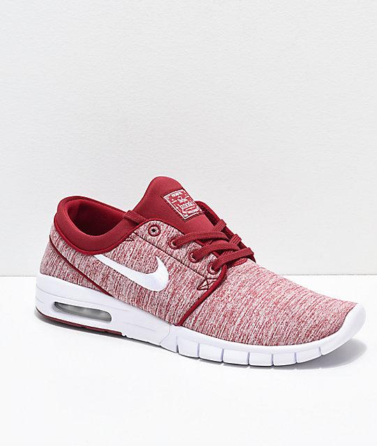 buy popular 72e37 e94af Nike SB Janoski Air Max Red Crush   White Skate Shoes   Zumiez