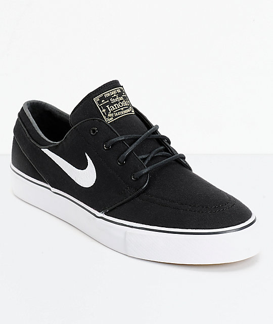 meilleure sélection 6b252 ccf25 Nike SB Janoski Black & White Canvas Skate Shoes