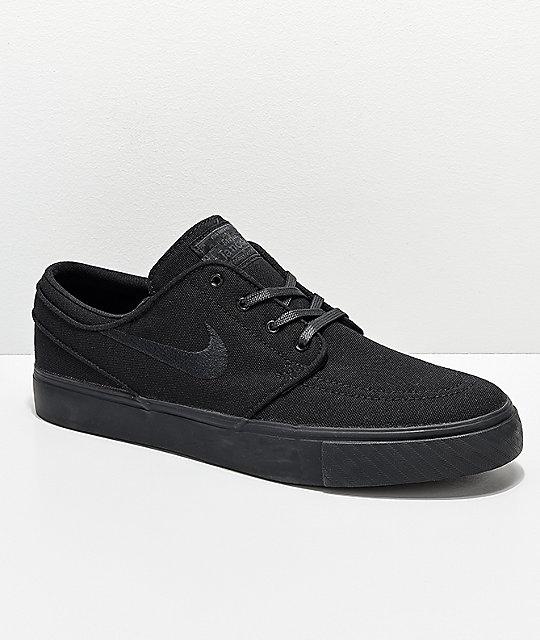 ae6c0464a7c2 Nike SB Janoski Black Canvas Skate Shoes | Zumiez