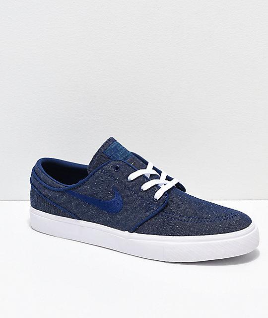 0874a0cf172dc Nike SB Janoski Blue Void & White Canvas Skate Shoes   Zumiez