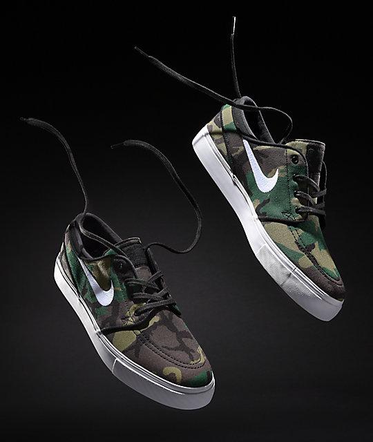 dc499c006c661 Nike SB Janoski Camo & White Canvas Skate Shoes | Zumiez