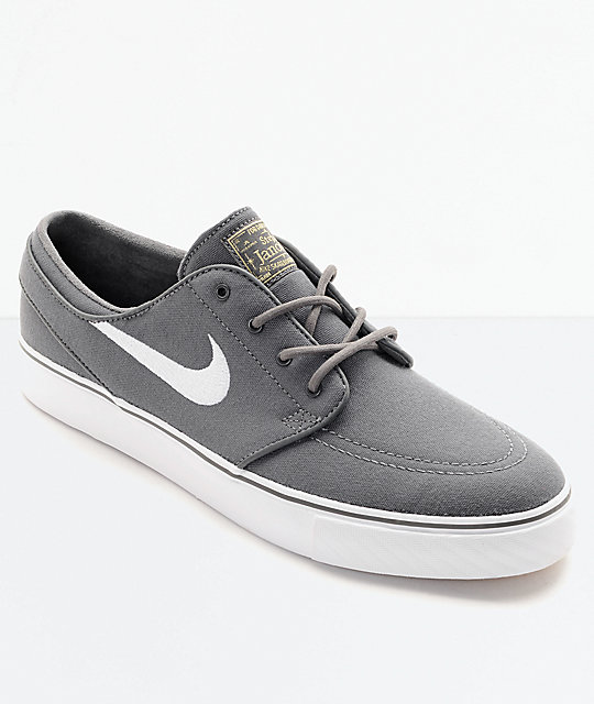 check out 4a0cd 2bdb8 Nike SB Janoski Canvas Grey   White Skate Shoes   Zumiez