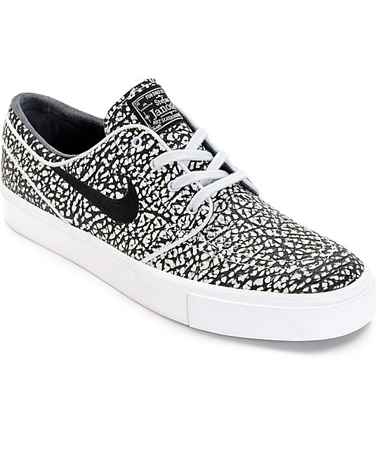 size 40 98134 feb3a Nike SB Janoski Elite Road Black & White Skate Shoes