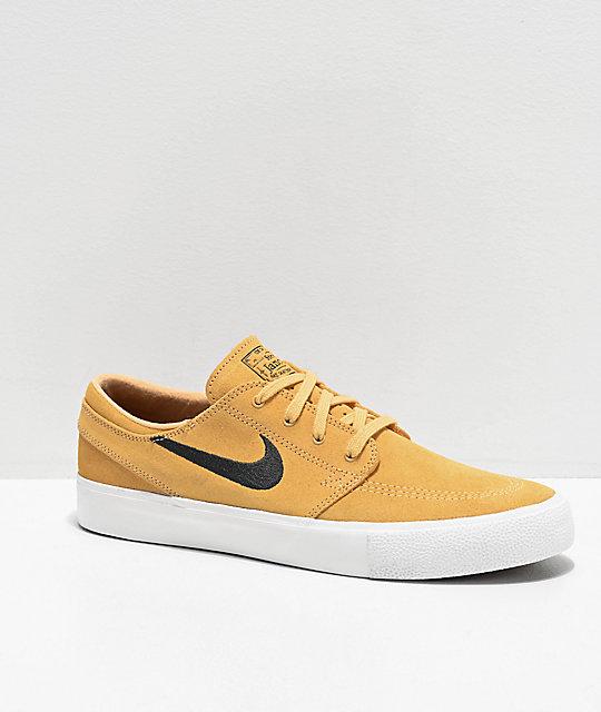 db31a947 Nike SB Janoski Gold, Anthracite & White Suede Skate Shoes | Zumiez
