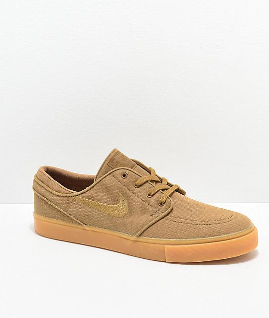 Nike SB Janoski Golden Beige & Gum Canvas Skate Shoes | Zumiez
