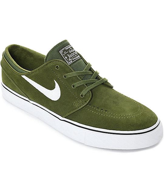 new style 989cf 3b591 Nike SB Janoski Legion Green & White Suede Skate Shoes