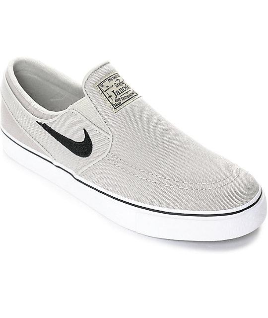 df2de6c5ba09 Nike SB Janoski Pale Grey Kids Slip-On Canvas Skate Shoes | Zumiez