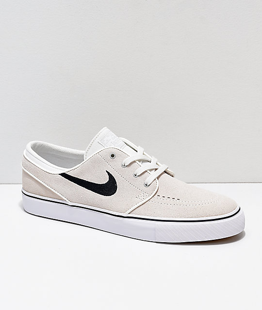 nouveaux styles 616c5 22084 Nike SB Janoski Summit White & Black Suede Skate Shoes