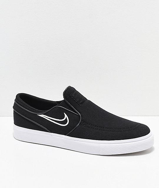 d5fa9072435a Nike SB Kids Janoski Black & Bone Canvas Slip-On Skate Shoes | Zumiez