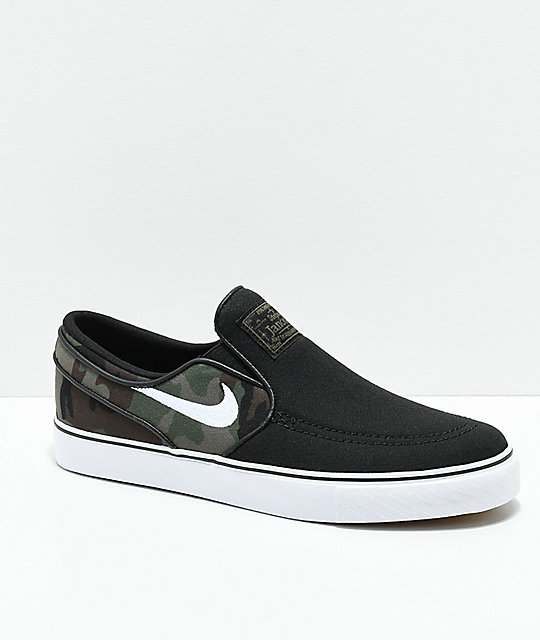 0b780b3b3a1a Nike SB Kids Janoski Black & Camo Slip-On Canvas Skate Shoes | Zumiez