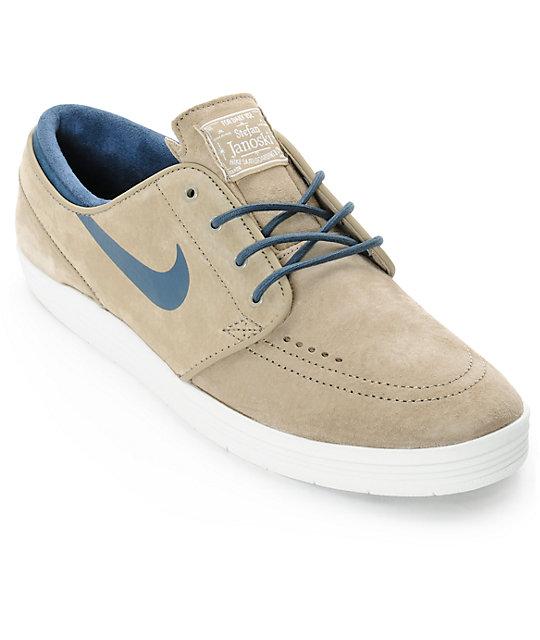huge selection of 7686e af37a Nike SB Lunar Stefan Janoski Bamboo   Squadron Blue Skate Shoes ...