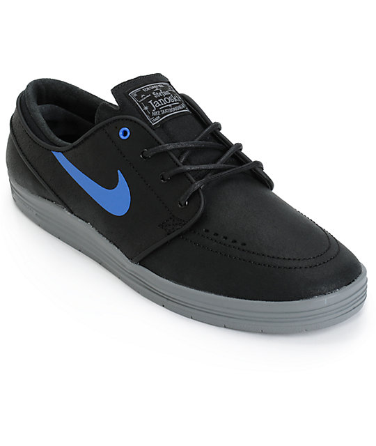 premium selection 915e2 fa0b8 Nike SB Lunar Stefan Janoski Black   Royal Blue Skate Shoes ...