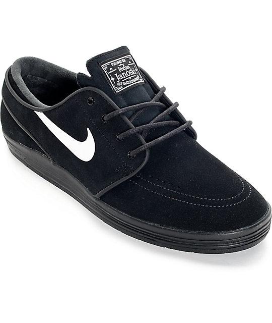 promo code d2931 4847c Nike SB Lunar Stefan Janoski Black and White Skate Shoes ...