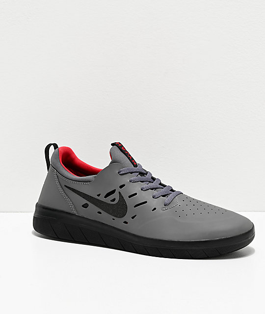 Nike SB Nyjah Free Dark Grey, Black & Gym Red Skate Shoes