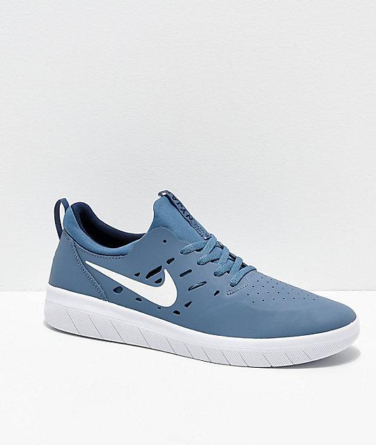 dd72a22f79d9 Nike SB Nyjah Free Thunderstorm Blue & White Skate Shoes | Zumiez