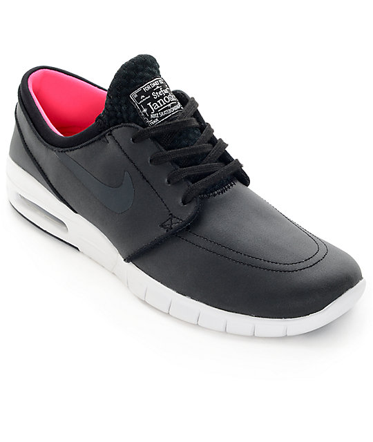 half off 4ad79 8ab4d Nike SB Stefan Janoski Air Max Black, Anthracite,   White Leather Skate  Shoes ...