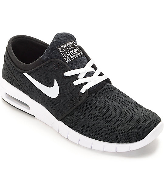 premium selection bca82 4b830 Nike SB Stefan Janoski Air Max Black   White Skate Shoes ...