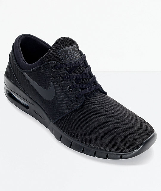nouveau concept 8160e 65db2 Nike SB Stefan Janoski Air Max Black and Anthracite Mesh Skate Shoes