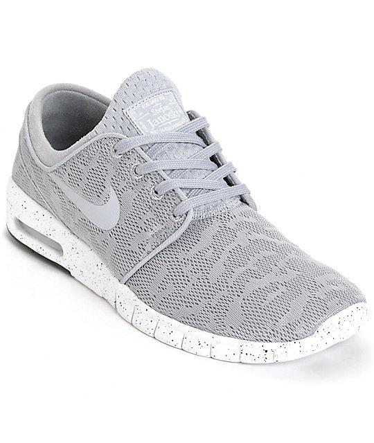 sale retailer 0cc0e 3d291 Nike SB Stefan Janoski Air Max Wolf Grey   White Mesh Shoes ...