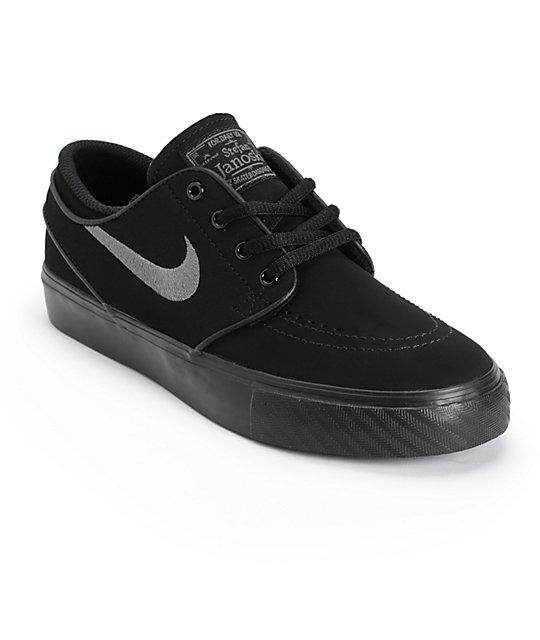 f98a0d0b3d Nike SB Stefan Janoski Black & Anthracite Kids Skate Shoes