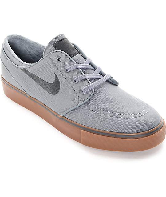 new product 37b3f af63e Nike SB Stefan Janoski Cool Grey, Black   Gum Canvas Skate Shoes ...