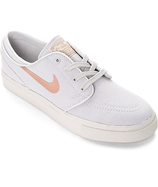 best website 00ed7 366ba Nike SB Stefan Janoski Light Iron Ore   Bronze Canvas Womens Skate Shoes    Zumiez