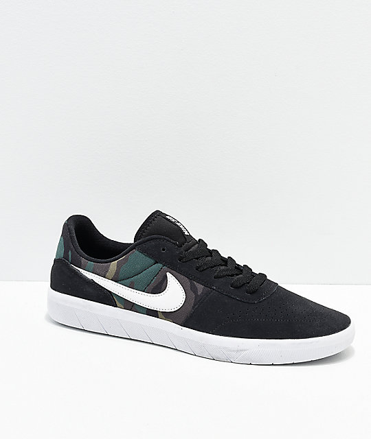 Nike SB Team Classic Camo, Black & White Skate Shoes