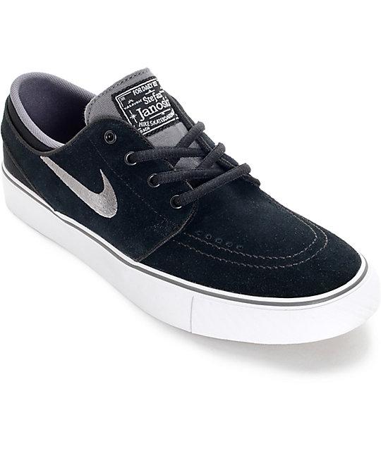 9e72e0551668 Nike SB Zoom Stefan Janoski Black, Light Graphite, and White Kids Skate  Shoes ...