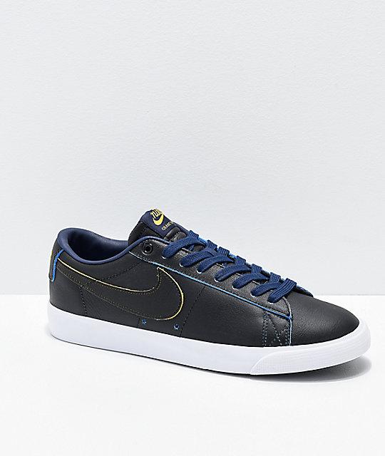 competitive price 73d6d 61efd Nike SB x NBA Blazer Low GT Black, Yellow & Navy Skate Shoes