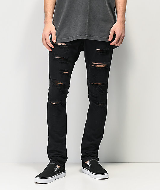 f52a1450e4cd Ninth Hall Rogue Black Shredded Jeans   Zumiez