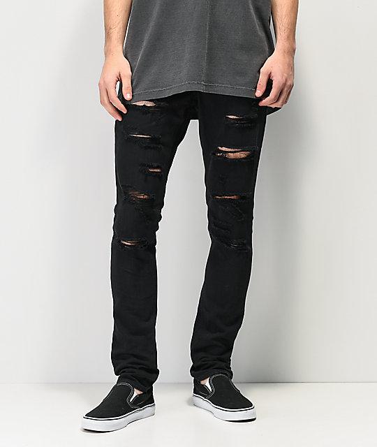 bd525823f9c Ninth Hall Rogue Black Shredded Jeans | Zumiez