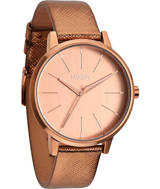 3cadd848f Nixon Kensington Leather Rose Gold Shimmer Watch | Zumiez
