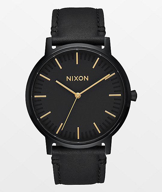f628d1f23 Nixon Porter Leather reloj en negro y color oro ...