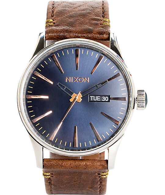 3002fef56 Nixon Sentry Leather Navy & Rose Gold Watch | Zumiez