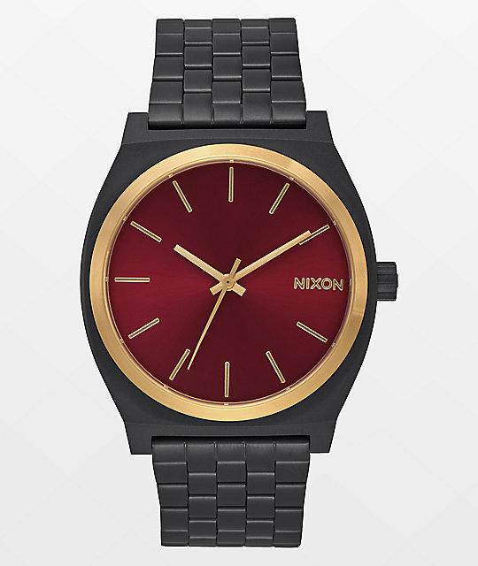 07d4968bf Nixon Time Teller Matte Black, Gold, & Burgundy Watch | Zumiez