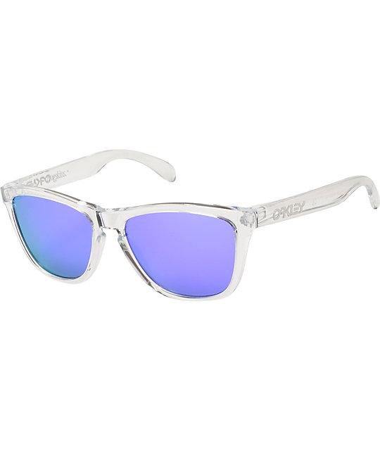 3574ecf755cc Oakley Frogskins Clear & Violet Iridium Sunglasses | Zumiez
